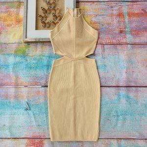 Ronny Kobo Beige Ribbed Cutout Bodycon Dress M